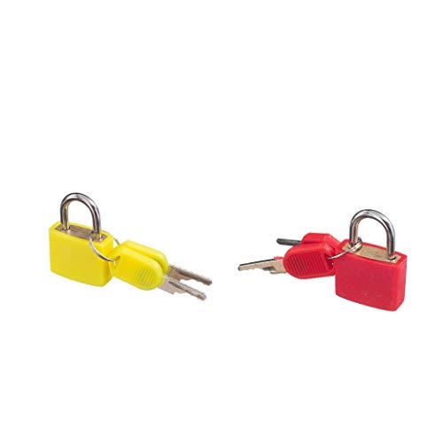 IPOTCH Candados Pequeños de 2 Colores (rojo + Amarillo) con Candados para Maletas con Llaves