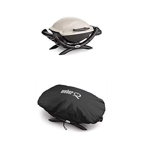 Weber 50060079 Gasgrill Q1000, Titan, Campinggrill, Grillen auf kleinen Balkonen + 7117 Premium Grillabdeckung für Q100/1000 Serie, schwarz