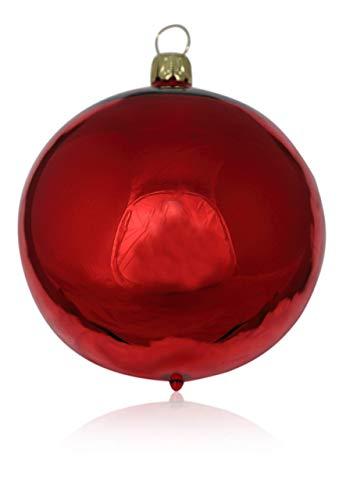 Lauschaer Glas Kugeln rot Glanz 4 Stück d 10cm Christbaumschmuck Weihnachtsschmuck mundgeblasen,handdekoriert Original (rot Glanz)