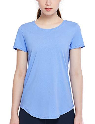 CRZ YOGA Damen Sport Fitness Shirt Sportbekleidung - Laufshirt Kurzarm,Performance T-Shirt für Damen Blauviolett 42