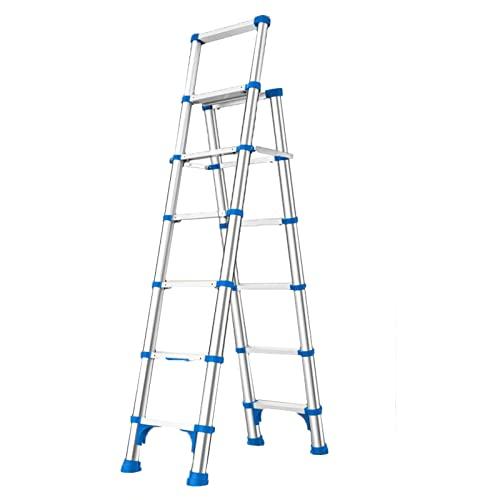 SUBBYE Escalera Telescópica Alto 1,92 M Escalera De Extensión Plegable -Retracción De Un Botón,Escalera De Aluminio Resistente con Marco En A,Tareas Domésticas Interiores/Mantenimiento De Edificios