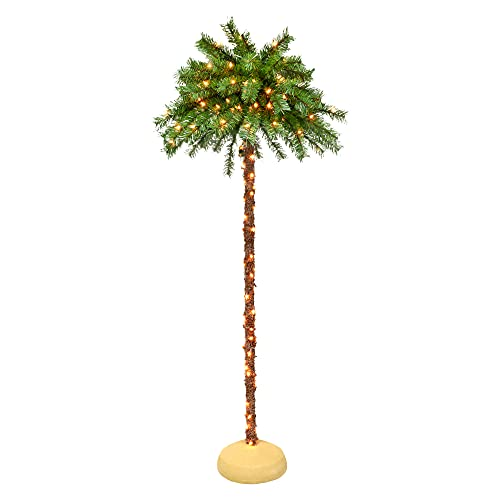 Puleo International 6 Foot Pre-Lit Artificial Palm Tree with 150 UL-Listed Clear Lights