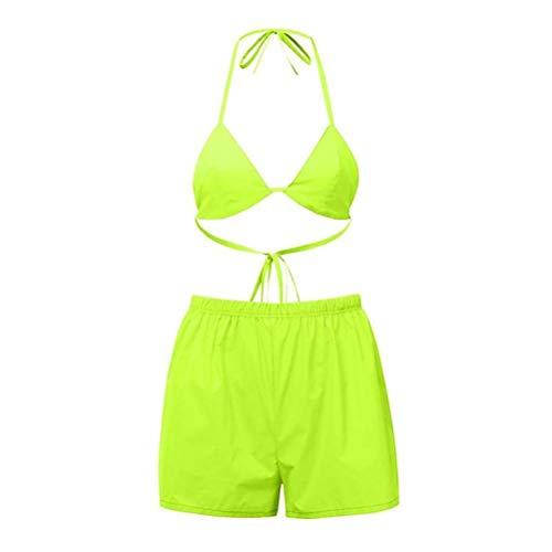 JUSTTIME Effen Bikini Badpak BH Reflecterende Top Shorts Twee Stuk Set L Geel