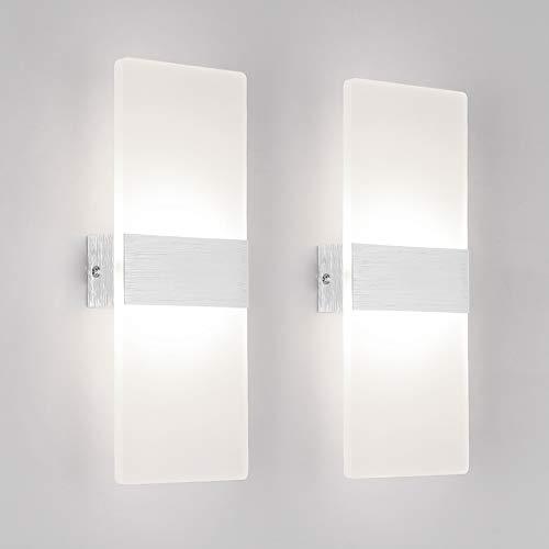 Klighten 2 Stück Wandleuchte LED Innen 12W Wandlampe Acryl Wandbeleuchtung Modern für Wohnzimmer Treppenhaus Schlafzimmer Flur Natürliches Weiß 4000K