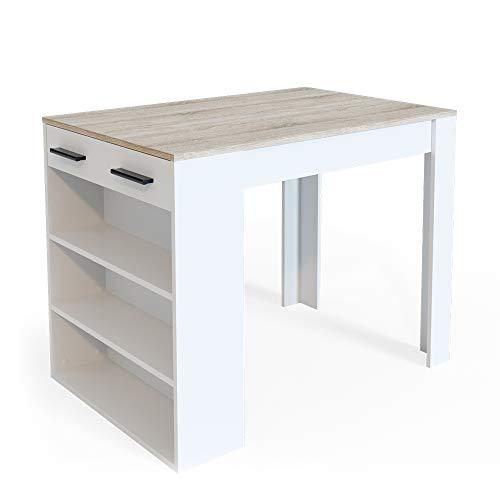 Vicco Bartisch Esstisch Tisch Bistrotisch Essplatz Schublade Regal Bar Weiß wahlweise mit Barhocker (Weiß-Sonoma ohne Barhocker)