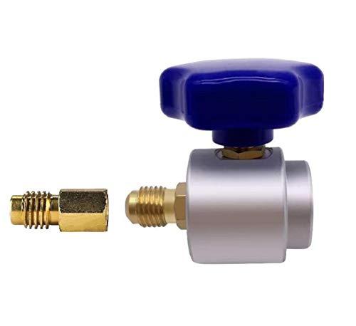 Tigr Selbstdichtender Kältemittelspender R134A Adapter Kann Ventilspender für 1/4 und 1/2-Zoll-AC-Freon-Ladeschlauch abhören (Silber)