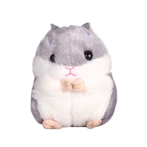 NUOBESTY Kawaii Hamster weicher Plüsch Cartoon Tier kleiner Hamster Schlüsselanhänger Spielzeug Schlüsselanhänger Stofftier (grau)