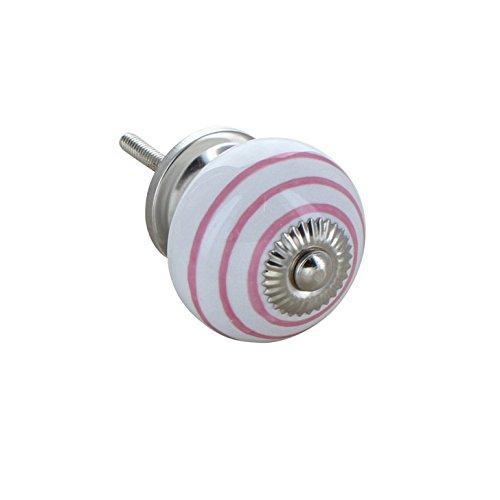 G Decor Couleur Rose à rayures sur blanc rond Poignée de porte en céramique vintage shabby chic Placard Tiroir Poignée de traction 4505-pk