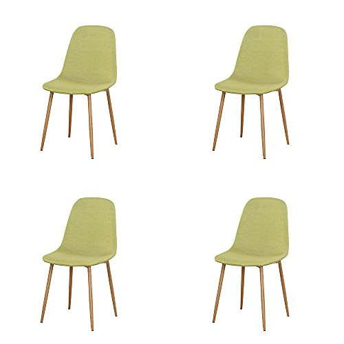 VERDELZ Linen/Leather/Velvet Dining Chair with Burlywood Color Metal Legs for Dining Room, Living Room, Office, Green