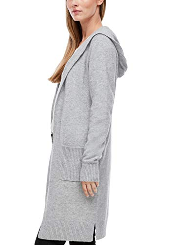 s.Oliver Damen Long-Cardigan aus Wollmix Grey Melange 44
