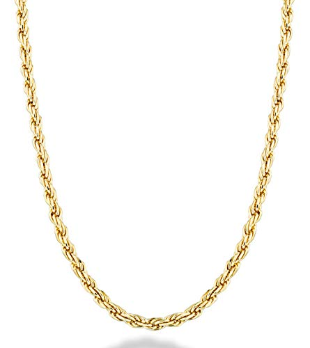 Miabella Solid 18K Gold Over Sterling Silver Italian 2mm, 3mm Diamond-Cut Braided Rope Chain Necklace for Men Women 16, 18, 20, 22, 24, 26, 28, 30 Inch 925 Sterling Silver Made in Italy (24, 2mm)