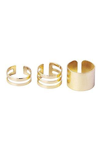 Anillos SODIAL(R) abiertos de color dorado. 3unidades, para mujer