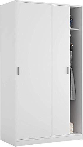 Mobelcenter – Armario 2 Puertas Correderas – Armario Matrimonio o Juvenil Acabado Color Blanco – Medidas: Ancho: 100 cm x Fondo: 50 cm x Alto: 200 cm - (0985)