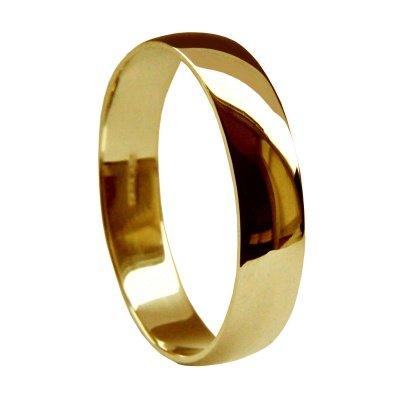 Di alta qualità, in oro giallo 9 k, 5 mm, con anello a forma di D, 2,9 g to 3.7 grammi, misura I a Z