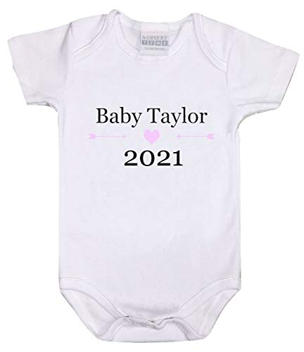 Personalised Baby Vest Bodysuit Romper Born in 2021 Year Baby Shower Pregnancy Announcement (Born in 2021 - Pink, 3-6 Months)