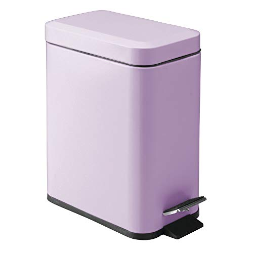 mDesign 1.3 Gallon Rectangular Slim Profile Steel Step Trash Can Wastebasket, Garbage Container Bin for Bathroom, Powder Room, Bedroom, Kitchen, Craft, Office - Removable Liner Bucket - Light Purple