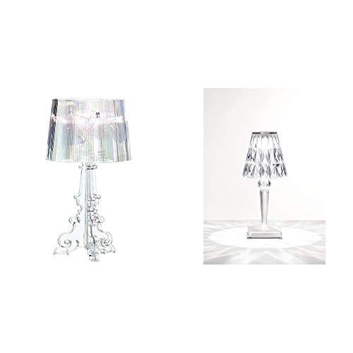 Kartell 09070/B4 Bourgie Lampada da Tavolo, Cristallo, Policarbonato & Battery Lampada da Tavolo, Cristallo