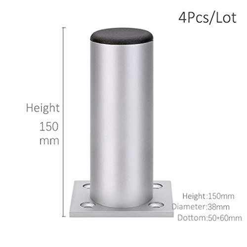 Thicken Verstelbare Aluminium Meubelpoten Kabinet Voet 6-30CM, TV-meubel Steunpoot Badkamermeubel Voeten Bank Voeten Set Van 4 (Color : Height 15cm Silver)