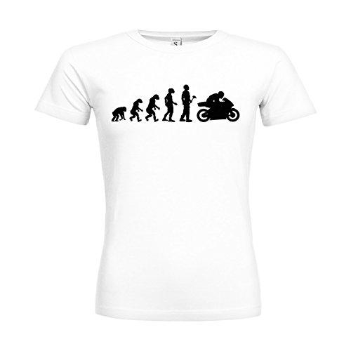 MDMA Frauen T-Shirt Classic Evolutionstheorie Rennmaschine N14-mdma-ftc00365-3 Textil white / Motiv schwarz / Gr. M