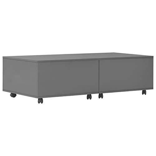 vidaXL Couchtisch Ausziehbar mit 1 Innenfach Rädern Wohnzimmertisch Beistelltisch Kaffeetisch Sofatisch Ausziehtisch Tisch Hochglanz Grau 120x60x35cm