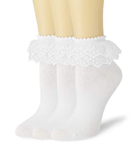 VIVIKI Women Lace Cotton Frilly Ruffle Socks Girls Lace Socks Princess Socks (White)