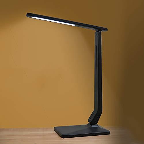 LogIme Wiederaufladbare LED-Schreibtischlampe mit USB Output Port Augenschutz No Video-Flash-Speicher-Funktion Touch Control Dimmbare for Arbeit Studie 4W (Color : Black)