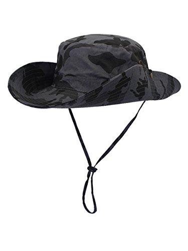 WANYING Damen Herren Outdoor Sonnenschutz Bucket Hut Fischerhut Baumwolle Two Way to Wear für Kopfumfang 55-62 cm Grau Camouflage