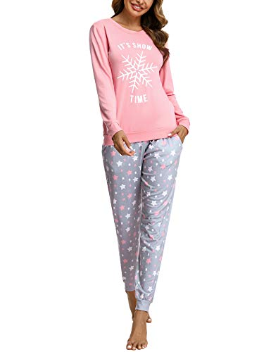 Doaraha Conjunto de Pijamas de Algodón para Mujer Camiseta y Pantalones Estrellas Copo de Nieve Ropa de Dormir de Manga Larga Suave Cómodo Loungewear (A# Rosa, S)