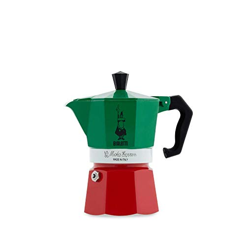 Bialetti Moka Express Italia Collection (Tricolore), Caffettiera 3 tazze, Alluminio