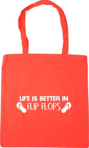 Hippowarehouse Life is better in flip flops Tote Shopping Gym Beach Bag 42cm x38cm, 10 litres