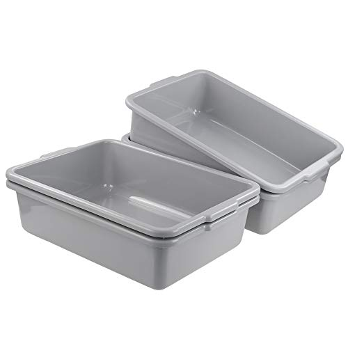 Mayish 22 Litre Rectangular Dish Pan Large Wash Basin Plastic Bus tub, Grey, Packs of 4