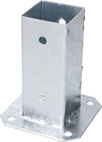 KOTARBAU® Soporte manguito atornillado 60 x 60 mm cuadrado para madera para postes casquillo de poste para el suelo casquillo galvanizado en caliente soporte de suelo manguito de montaje