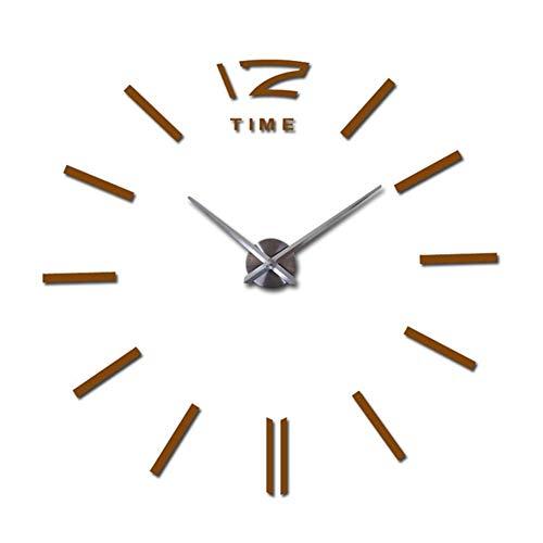 Wand-Taschenuhr Uhr 3D DIY Acryl Spiegel Aufkleber Wohnzimmer Quarz Nadel Europa Horloge Wand Taschenuhr - 9.12 (Farbe: Schokolade, Blattgröße: 94 cm)