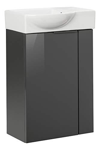 FACKELMANN Luna Gäste WC Set 2 Teile/Keramik Waschbecken/Waschbeckenunterschrank mit 1 Tür/Badschrank mit Soft-Close/Badmöbel Set fürs kleine Bad/Korpus & Front: Schwarz/Breite: 45 cm