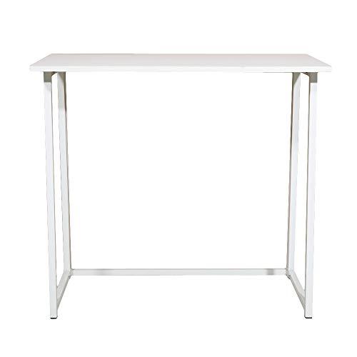 guoda Mesa de almacenamiento de oficina en casa o oficina, tablero de partículas blanco con triamina, tubo de acero, escritorio de ordenador, plegable (color: blanco, tamaño: 80 x 45 x 74,5 cm)