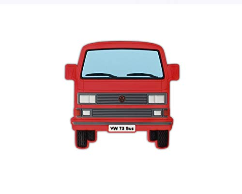 BRISA VW Collection - Volkswagen T3 Bulli Bus Rubber Magnet - Front/rot