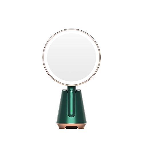 CZFSKCZ Specchio per Il Trucco per vanità Illuminato a Doppia Faccia, Touch Screen dimmerabile Cromato Lucido, luci a Doppia Faccia Mirror.Color: Green, Dimensione: 208 * 110 * 351 * 116mm