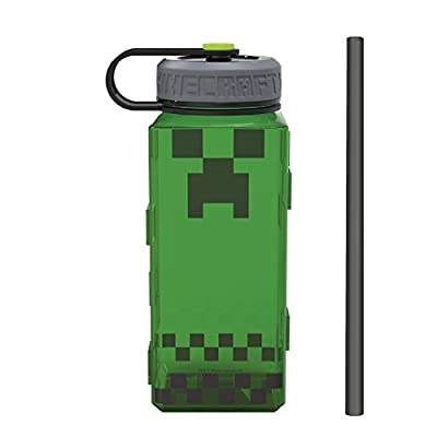Zak Designs 36oz Durable Plastic Water Rugged Sports Bottle with Carry Strap and Wide Chug Opening Includes Reusable Straw (36 oz, Minecraft Creeper)
