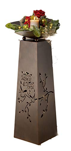 Homeshop Metallständer mit Ausschnitten Eulenpaar komplett mit Schale Schalenständer mit Pflanzschale