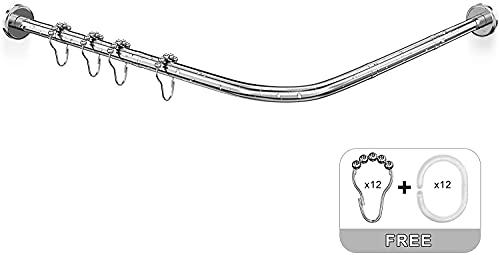 Misounda Barras De Cortina Ducha En L Esquina Sin Taladro, 304 Acero Inoxidable Barra Cortina Bañera Ducha Extensible Apto Para Baño, Cocina, Vestidor. (Inox, 70-100 x 90-120 cm)