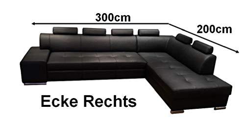 Quattro Meble Hoekbank Londen PIK 6z 300 x 200 Sofa Couch met slaapfunctie, bedkast en hoofdsteunen, echt leer, hoekbank, grote keuze aan kleuren Ecke Rechts Toledo Nero