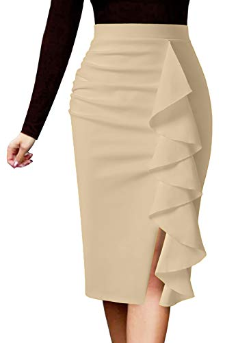 VFSHOW Womens Beige Ruched Ruffle Split Slim Work Business Office Cocktail Party Bodycon Pencil Skirt 2511 APT S