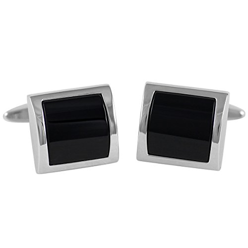 Lindenmann Cufflinks/Cuff Buttons, Silvery with Onyx, Gift Box, 10041