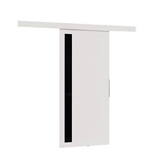 Mirjan24 Schiebetürsystem Multi V mit Selbstschließer, Komplett-Set für Schiebetüren Trennwände Innentüren (Weiß/Schwarzer lacobel, Modell 100)