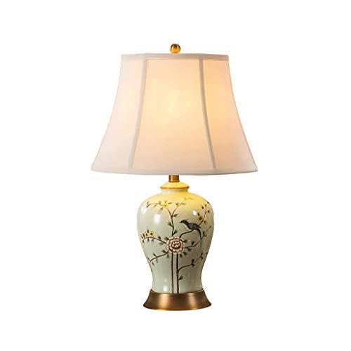 NXYJD LED Moderna Minimalista Creativo decoración Lino Pantalla de cerámica del Dormitorio lámpara de Mesa con Base metálica Sala lámpara de cabecera