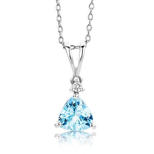 Miore Kette Damen 0.02 ct Diamant Halskette mit Anhänger Edelstein/Geburtsstein Aquamarin in Blau und Diamanten Brillanten Kette aus Weißgold 9 karat / 375 gold, Halsschmuck 45 cm lang