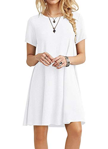 POPYOUNG Women's Casual Summer Dresses Tshirt Beach Dress Medium, White