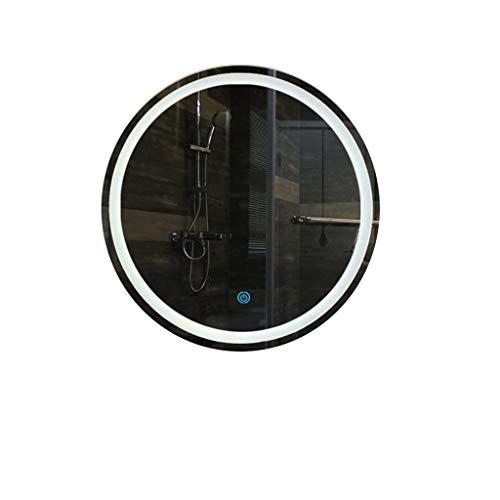 Hfyo badkamerspiegel met ledverlichting, rond, verlicht met wit/warmwit licht, touch-sensor + afvoer, maat 4 make-upspiegel