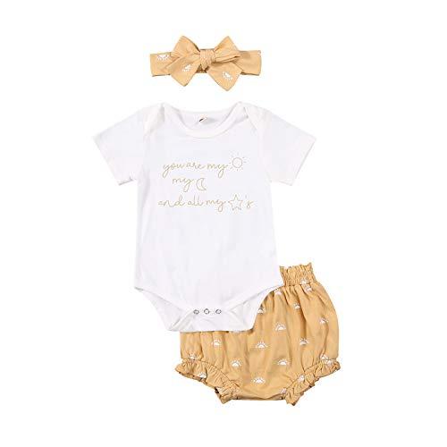 Recién Nacido Bebé Niñas Verano 3 Unids Ropa Conjuntos De Manga Corta Letra Mono Mameluco+Sun Print Shorts+Diadema