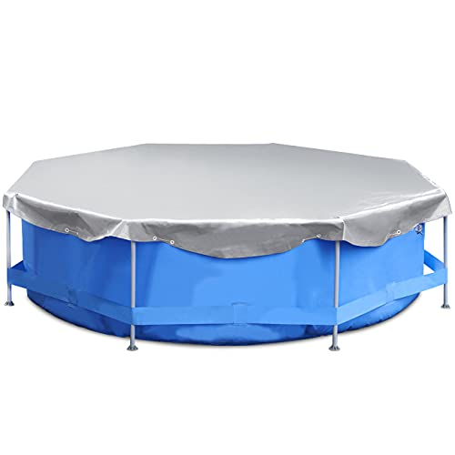 Sekey Cobertor para Piscina Redonda Ø 366 cm, 200 g/m² PE Lona de Protección Impermeable para Piscina Desmontable, Gris